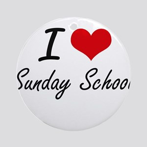 I love Sunday School Round Ornament